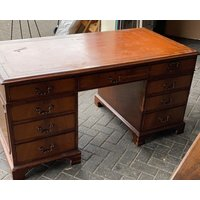Small Wooden Captains Desk with Drawers