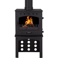 Carron Matt Black 7 3kW Multifuel DEFRA Approved Stove With Log Store