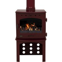 Carron Red Enamel 7 3kW Multifuel DEFRA Approved Stove With Log Store