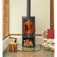 Opus Melody G 5kW Wood Burning Stove With Log Store   Glass Door