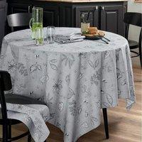Pour la Table. Fond gris, motifs imprimés. Enduction avec traitement anti-taches et imperméable. Finition ourlet piqué 100% coton Lavage à 40°