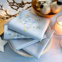 Pour la Table. Motifs imprimés, finition ourlet piqué. Prix tarif unitaire serviette :  3€75 50% coton, 50% polyester Lavage à 40°