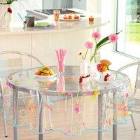 Pour la Table. PVC transparentFinition biais, motifs imprimés 100% PVC