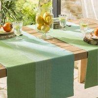 Pour la Table. Chemin de table  :    Serviettes de table  : Motifs imprimés, finition bourdon vert     Prix tarif unitaire : serviette 5€ et set