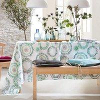 Pour la Table. Fond blancMotifs floraux, finition ourlet piqué 50% coton et 50% polyester Lavage à 40°