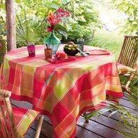Pour la Table. Fond Framboise et vert à carreauxFinition bordure unie de 5 cm 100% coton Lavage à 40°