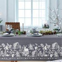 Pour la Table. Fond gris, motifs figuratifs imprimés. Finition ourlet piqué 50% coton et 50% polyester Lavage à 40°