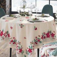 Pour la Table. Fond blanc casséMotifs floraux placés. Traitement anti-tâches. Finition ourlet piqué 50% coton et 50% polyester Lavage à 40°
