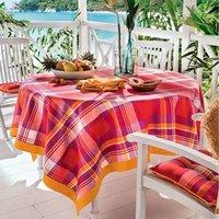 Pour la Table. Motifs carreaux, bordure unie safran 100% coton Lavage à 40°