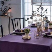 Pour la Table. Fond violetMotifs poids brodés, avec fil argenté 100% polyester Lavage à 30°