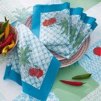Pour la Table. Motifs imprimés, finition bourdonPrix tarif unitaire : serviette de table 5€ 50% coton, 50% polyester Lavage à 40°