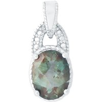 1.16cts Green Colour Change Andesine Sterling Silver Pendant (d)