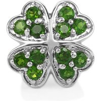 Chrome Diopside Kama Bead Four Leaf Clover Charm In Sterling Silver 1.22cts