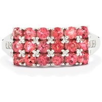 Natural Pink Tourmaline Ring With White Zircon In Sterling Silver 1.21cts