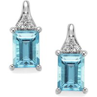Swiss Blue Topaz Earrings With White Topaz In Sterling Silver 2.53cts