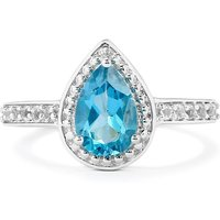 Electric Blue Topaz Ring With White Topaz In Sterling Silver 1.83cts