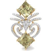 Csarite® Brooch With Diamond In 18k Gold 5.87cts