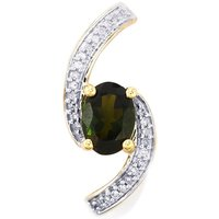 Chrome Tourmaline Pendant With Diamond In 9k Gold 0.84cts