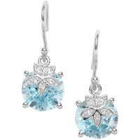 Sky Blue Topaz Earrings With White Topaz In Sterling Silver 9.97cts