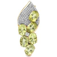 Cuprian Tourmaline Brooch With Diamond In 18k Gold 5.15cts