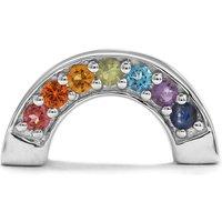 Kaleidoscope Gemstones Rainbow Kama Bead Charm In Sterling Silver 0.30cts