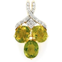 Cuprian Tourmaline Pendant With Diamond In 18k Gold 1.84cts