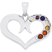 0.95ct Sterling Silver Gemstone Chakra Heart Pendant