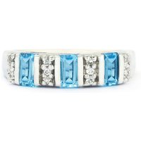 1.23ct Swiss Blue & White Topaz Sterling Silver Ring