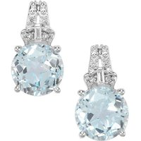 Lone Star Sky Blue Topaz Earrings With White Topaz In Sterling Silver 5.48cts