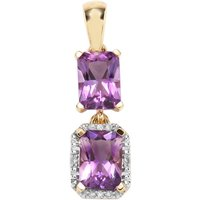 Moroccan Amethyst Pendant With Diamond In 9k Gold 1.82cts