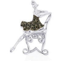 Black Spinel Brooch In Sterling Silver 0.57cts