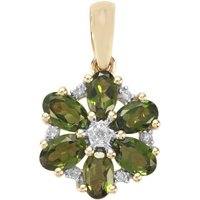 Chrome Tourmaline Pendant With Diamond In 9k Gold 1.07cts