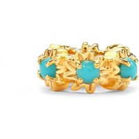 Sleeping Beauty Turquoise Kama Bead Charm In Gold Plated Sterling Silver 0.69ct
