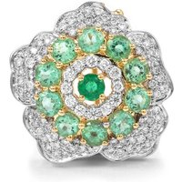 Ethiopian Emerald Brooch With Diamond In 18k Gold 1.54cts