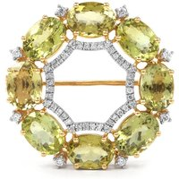 Cuprian Tourmaline Brooch With Diamond In 18k Gold 6.22cts