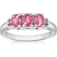 Ilakaka Hot Pink Sapphire Ring With Pink Tourmaline In Sterling Silver 1.59cts (f)