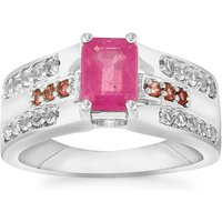 Ilakaka Hot Pink Sapphire, Pink Tourmaline Ring With White Topaz In Sterling Silver 1.88cts (f)