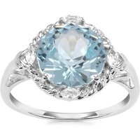 Lotus Cut Sky Blue Topaz Ring With White Topaz In Sterling Silver 4.94cts