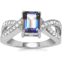 Mystic Blue Topaz Ring With White Topaz In Sterling Silver 2.14cts