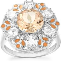 Galileia Topaz Enamel Ring With White Topaz In Sterling Silver 4.14cts