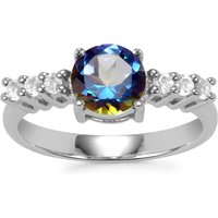 Mystic Blue Topaz Ring With White Topaz In Sterling Silver 1.79cts