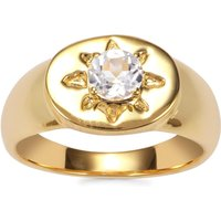 White Topaz Ring In Gold Plated Sterling Silver 0.60ct