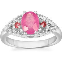 Ilakaka Hot Pink Sapphire, Pink Tourmaline Ring With White Topaz In Sterling Silver 2.21cts (f)