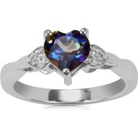 Mystic Blue Topaz Ring With White Topaz In Sterling Silver 1.49cts