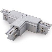 Conector T Carril Trifásico Plata