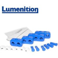 1x EZK61B - Lumenition Blue - 6 Lead Set Markers & Clamps - Ignition Lead Numbe