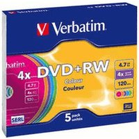 Verbatim DVD+RW 4,7GB 120min 4x Color 5pk Slim Case