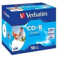 Verbatim CD-R 700MB 52x AZO Wide Inkjet Printable ID Brand printable 10pk Jewel Case