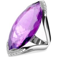 Forzieri Amethyst and Diamond White Gold Fashion Ring (Purple)