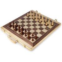 Legler Wooden Chess & Backgammon Suitcase Set
